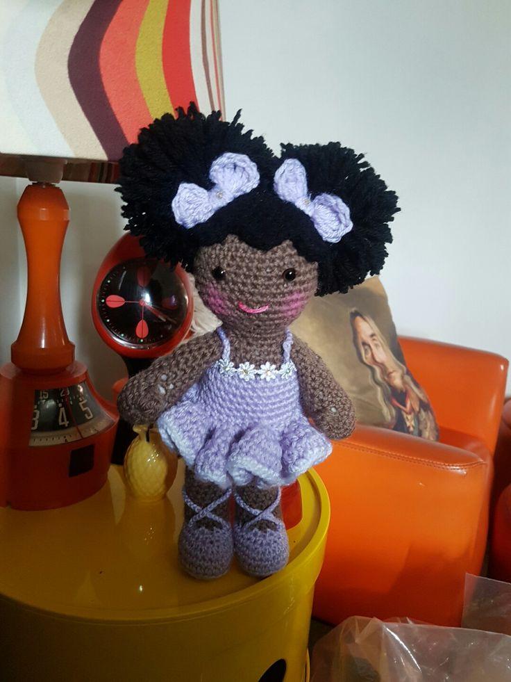 Designed by Marriama. #dirtygrannycrochet #crochet #crochetdoll #dollsofcolour #ballet #ballerina #babydoll #afropuffs