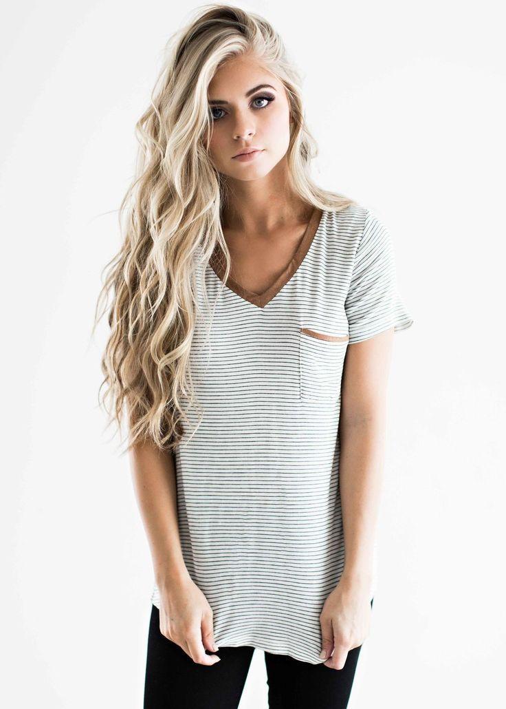 striped tee soft tee, blonde hair, style, fashion, womens fashion short-haircutstyl…
