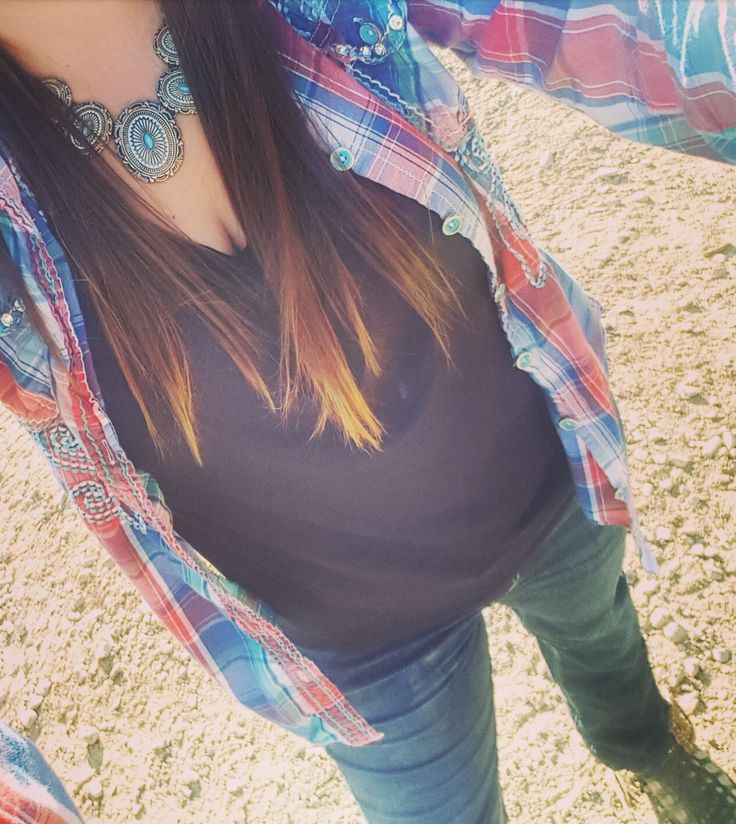 Country fashion, turquoise concho western necklace. Dan Post boots.  #wrangler #cowgirlfashion #turquoisejewelry #farmlife