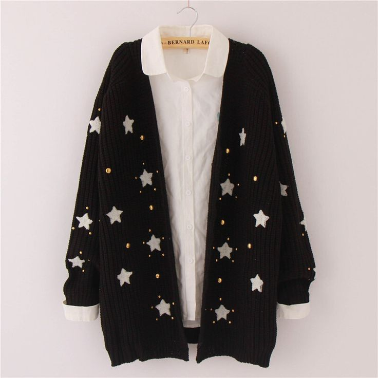 Cute kawaii star sweater cardigan