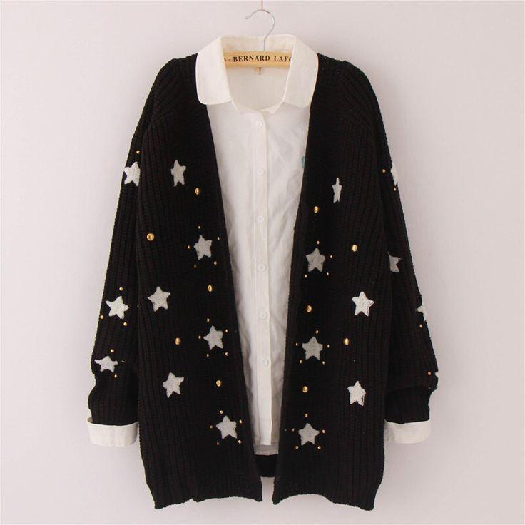 Cute kawaii star sweater cardigan