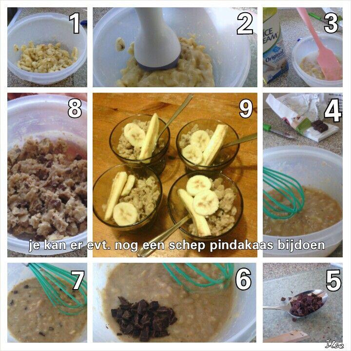 Recept voor dit ijs: (voor vier personen) -1 banaan -Kleine scheut kokosmelk (ik gebruikte rijstmelk) -Halve eetlepel pindakaas (ik gebruikte cashew pasta) -1 eetlepel chocoladestukjes -1 theelepel vanille essence (heb ik niet gebruikt) -kwart eetlepel kaneel (heb ik niet gebruikt) Suc6! en eet smakelijk!