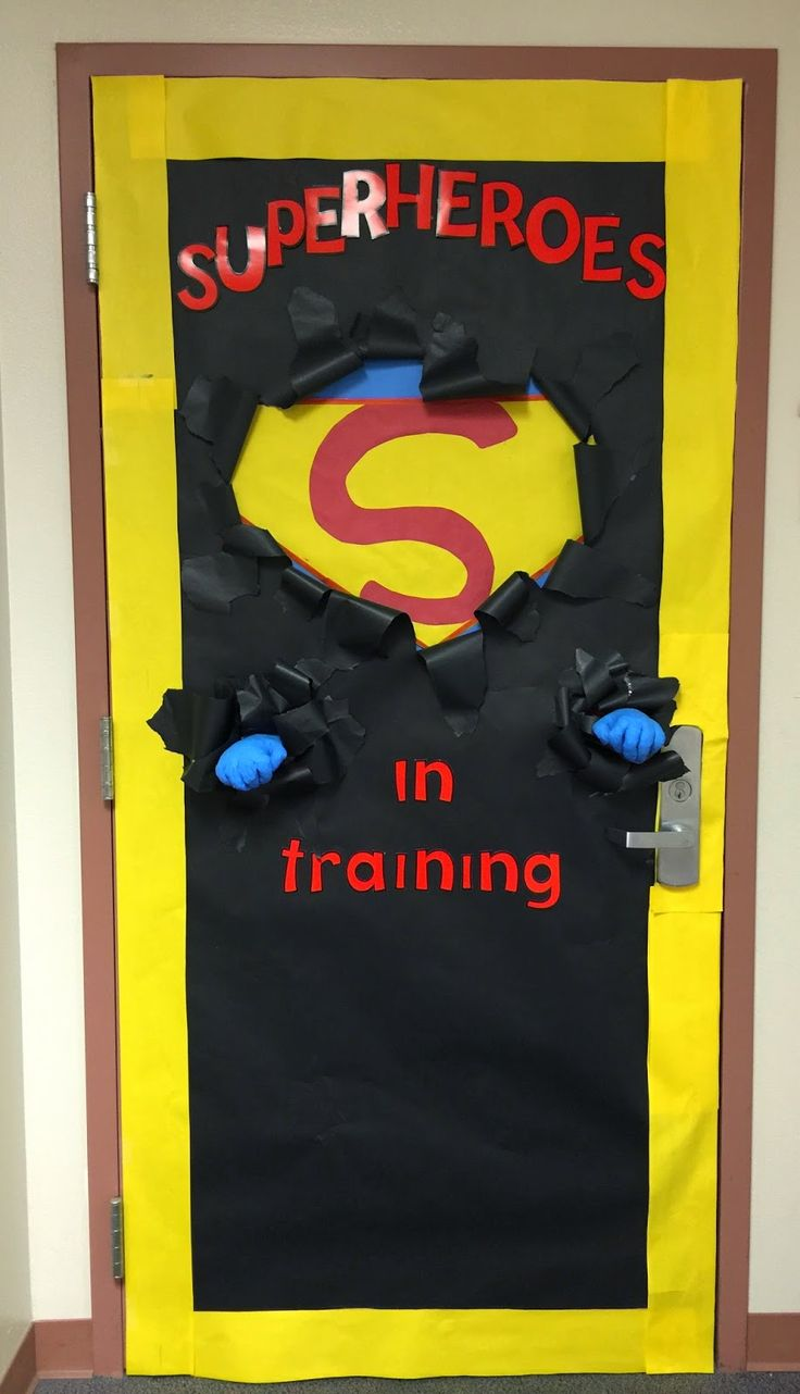 Cartoon classroom door - Busy Miss B Superhero Classroom Doors