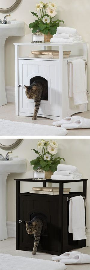 The Cat Washroom Litterbox Concealer - CatsPlay.com - Fun furniture, condos and climbing gyms for cats and kittens. #catsdiybed