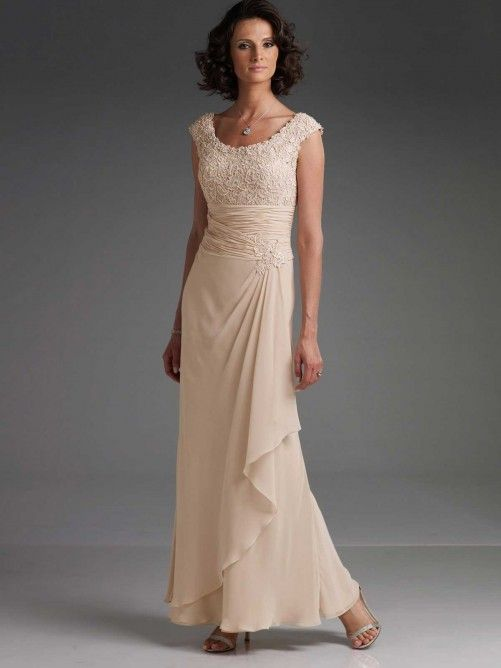 A-line/Princess Sans Manches Scoop Ankle-length Mousseline Polyester Dresses
