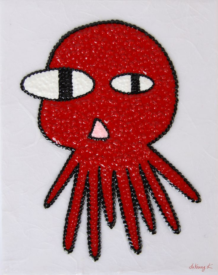 """#SoldOut by. JuYoung.K [Ah, Octopus : No.2], 14 x 18cm (높이4cm), 2014 mixed media on canvas """"A""""  #landscape #art #painting #artwork #artist #fineart #contemporaryart #cloud #sun #interior #fish #cube #animal #octopus #red"""