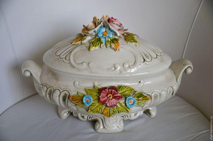 Купить Старинная итальянская ваза, супница, тюрина LCS. Италия. - комбинированный, ваза для конфет