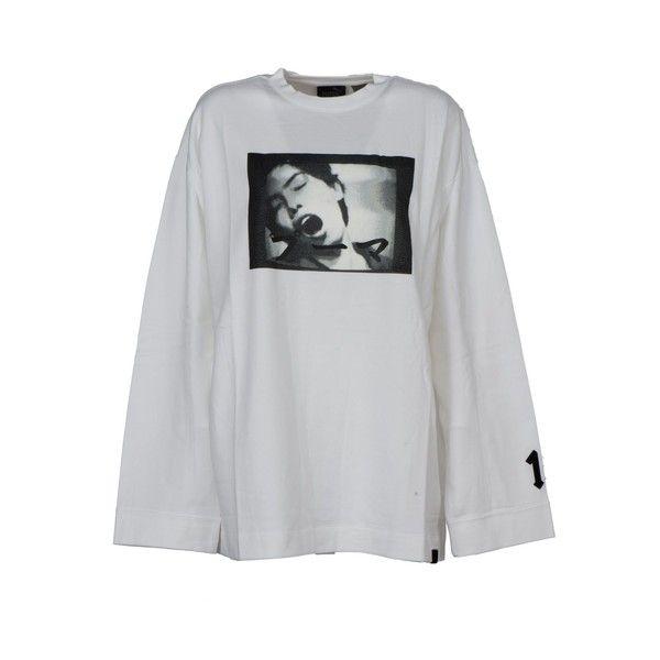 Puma Puma X Rihanna 'dames' Sweatshirt (1.261.545 IDR) ❤ liked on Polyvore featuring tops, hoodies, sweatshirts, white, crew neck sweatshirts, graphic tops, puma sweatshirt, oversized crew neck sweatshirt and white sweatshirt