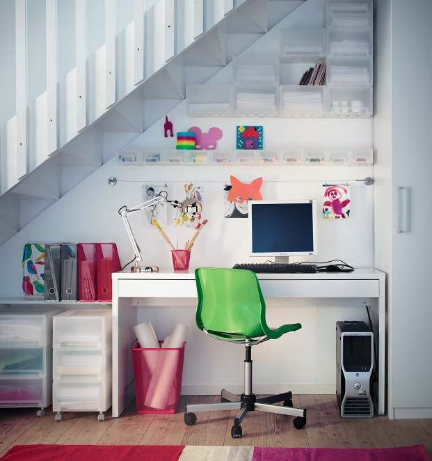 Interesting Latest House Decoration Trends In 2013:kids Study Table With  Computer Under Stair Home