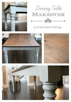 Dining Room Table Makeover - I sanded down my dining room table, stained, sealed and painted the legs with Annie Sloan Chalk Paint.