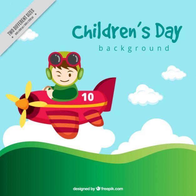 Детский день фон с небольшой самолет Бесплатные векторы