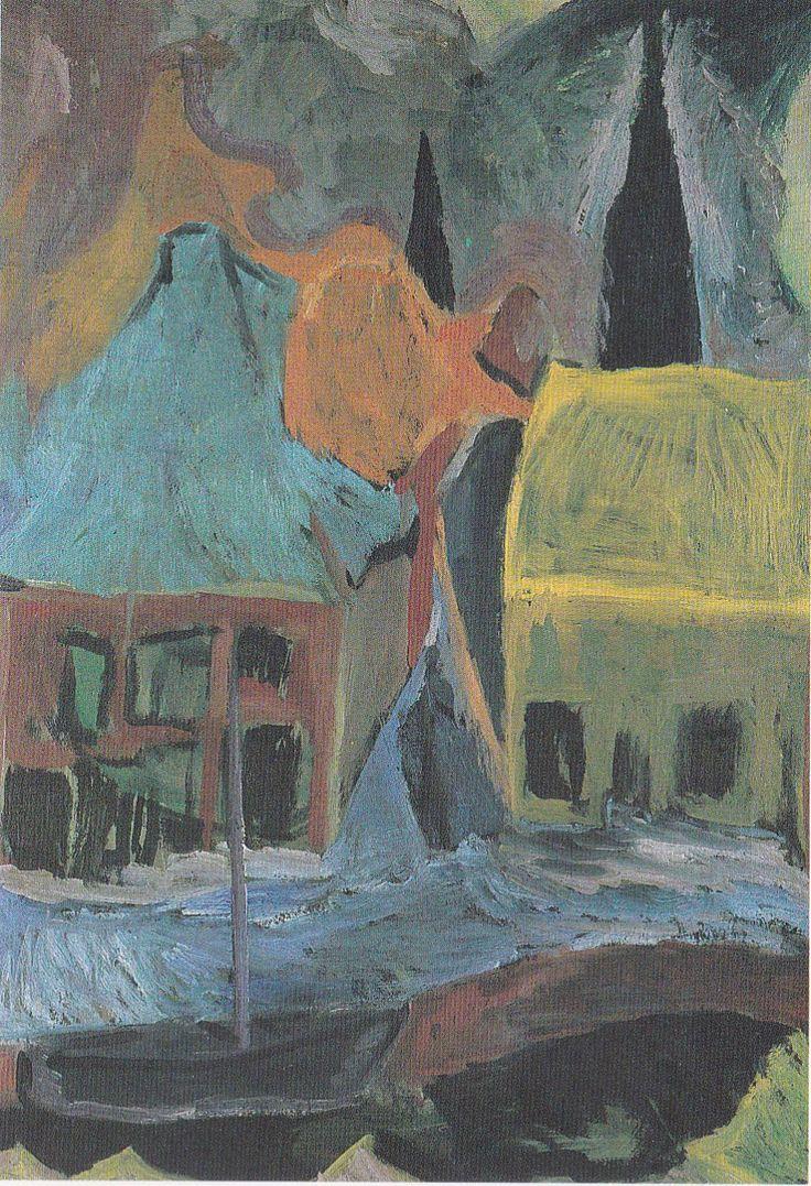 Stadsgezicht met sneeuw, Hendrik Werkman, 1922