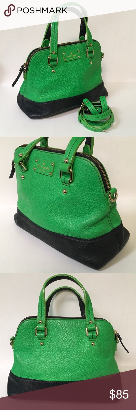 Kate Spade Grove Court Maise Green & Navy Bag Up for sale is a preowned Kate Spade Grove Court Maise Green & Navy Bag in good condition with no major wear but showing signs of prior use. The Leather has relaxed a little bit. The handles have a little bit of wear such as cracking in the paint.  They are still very sturdy and the wear is not very noticeable. The interior has not rips but has light staining.  Overall the bag is in great shape with a lot of life to be had still.  Included is the…