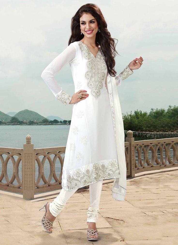 Clean Off White Georgette Churidar Suit