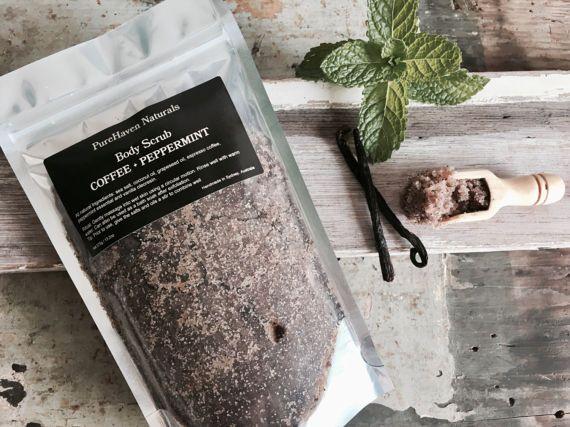 Body Scrub. Coffee  Peppermint. Travel Scrub. by PureHavenNaturals