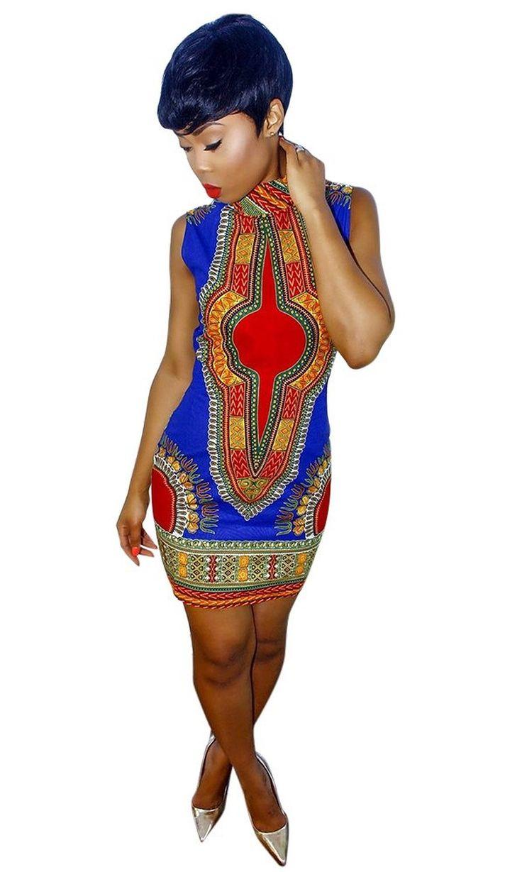Moon Hut Womens Bohemian Slim Dashiki Traditional African Mini Dress Club Wear at Amazon Women's Clothing store: