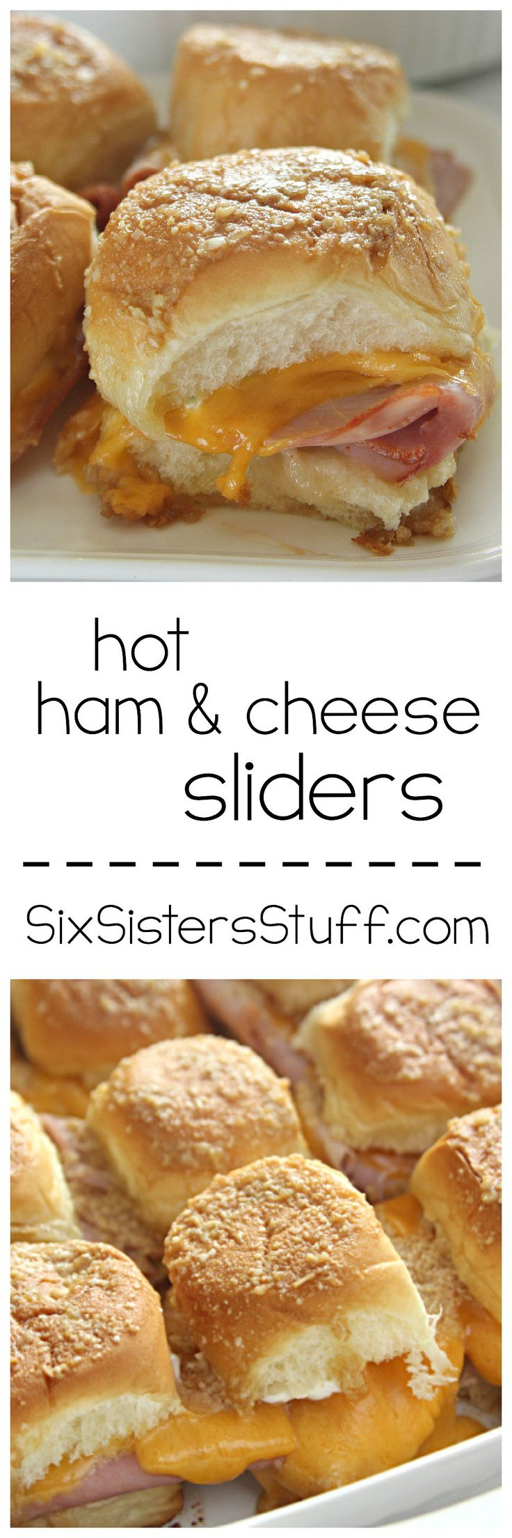 Hot Ham and Cheese Sliders Tailgate Sandwiches on SixSistersStuff.com