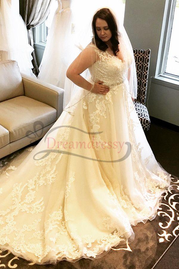Classic Straps V Neck Backless Ivory Long Plus Size Wedding Dress