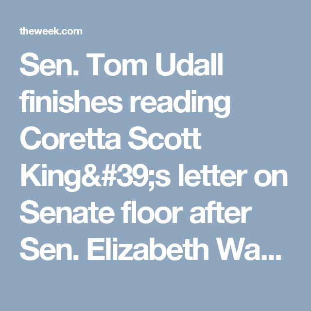 Sen. Tom Udall finishes reading Coretta Scott King's letter on Senate floor after Sen. Elizabeth Warren was silenced