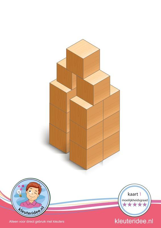 Bouwkaart 1 moeilijkheidsgraad 5 voor kleuters, kleuteridee, Preschool card building blocks with toddlers 10, difficulty 5, free printable.