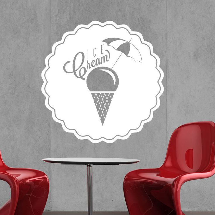 Ice cream wall sticker vinyl decal catering cafe kitchen food sign r9