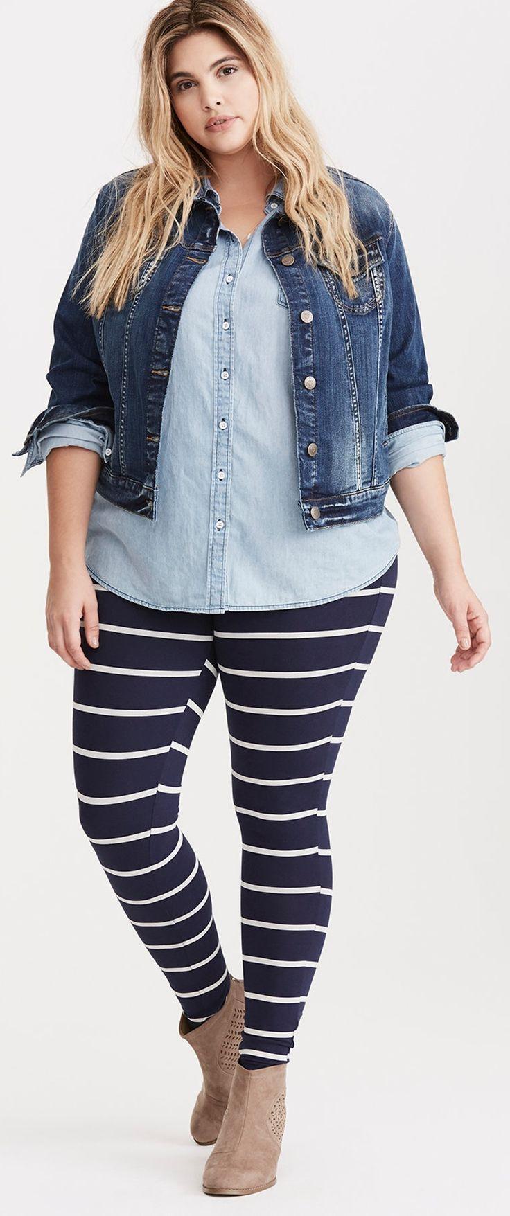 Plus Size Striped Leggings