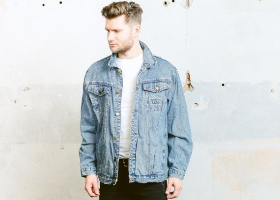 Oversized DENIM jasje. Vintage 80s mannen Trucker door BetaMenswear