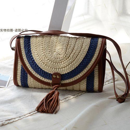 Bolsa de palha saco de praia bolsa de ombro mulheres mensageiro 2015 moda verão lindo beleza