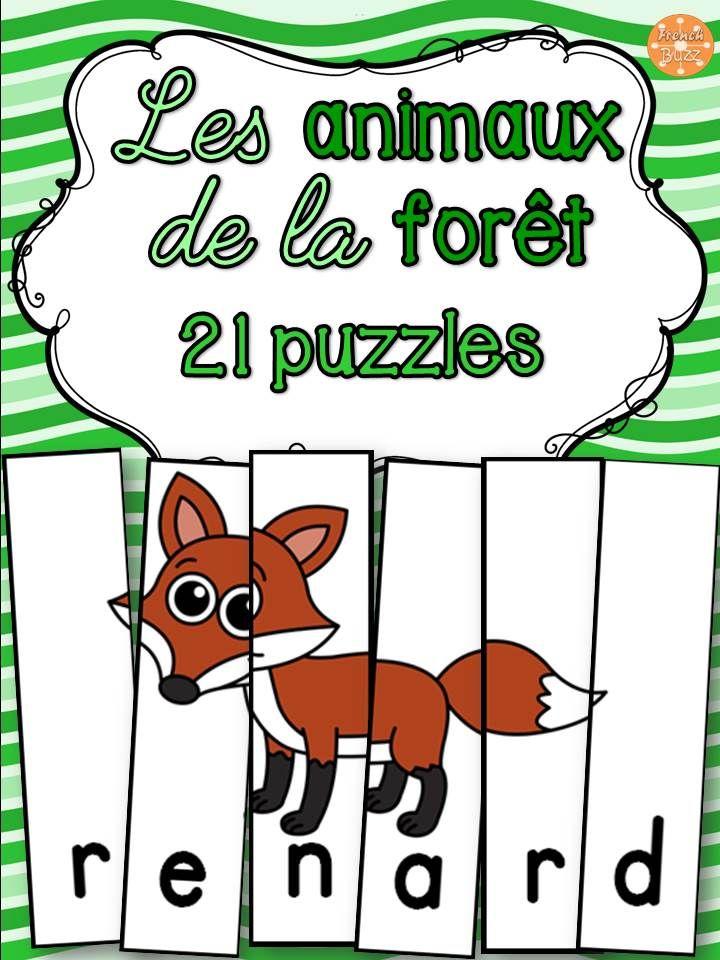 21 casses-tête amusants sur le thème des animaux de la forêt.