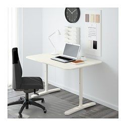 "IKEA - BEKANT, Desk, birch veneer/white, , 10-year Limited Warranty. Read about the terms in the Limited Warranty brochure.You can mount the table top at a height that suits you, since the legs are adjustable between 25 5/8""- 33 1/2"".The veneer surface is durable, stain resistant and easy to keep clean.It's easy to keep your desk neat and tidy with the cable management net under the table top.Deep table top gives a generous work surface and lets you sit at a comfortable distance fr..."