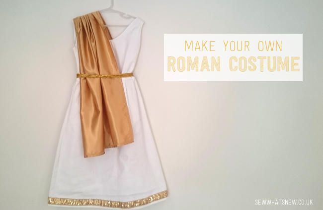 Make your own girls roman costume fit for an Roman Empress with dress, bracelets and wreath headdress.