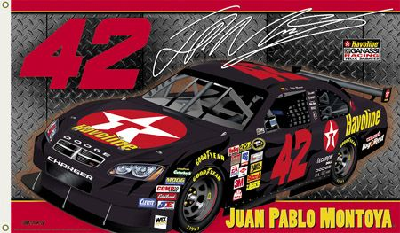 Juan Pablo Montoya MONTOYA NATION Giant 3'x5' NASCAR Flag - #42 Chip Ganassi Racing Valvoline Dodge - available at www.sportsposterwarehouse.com
