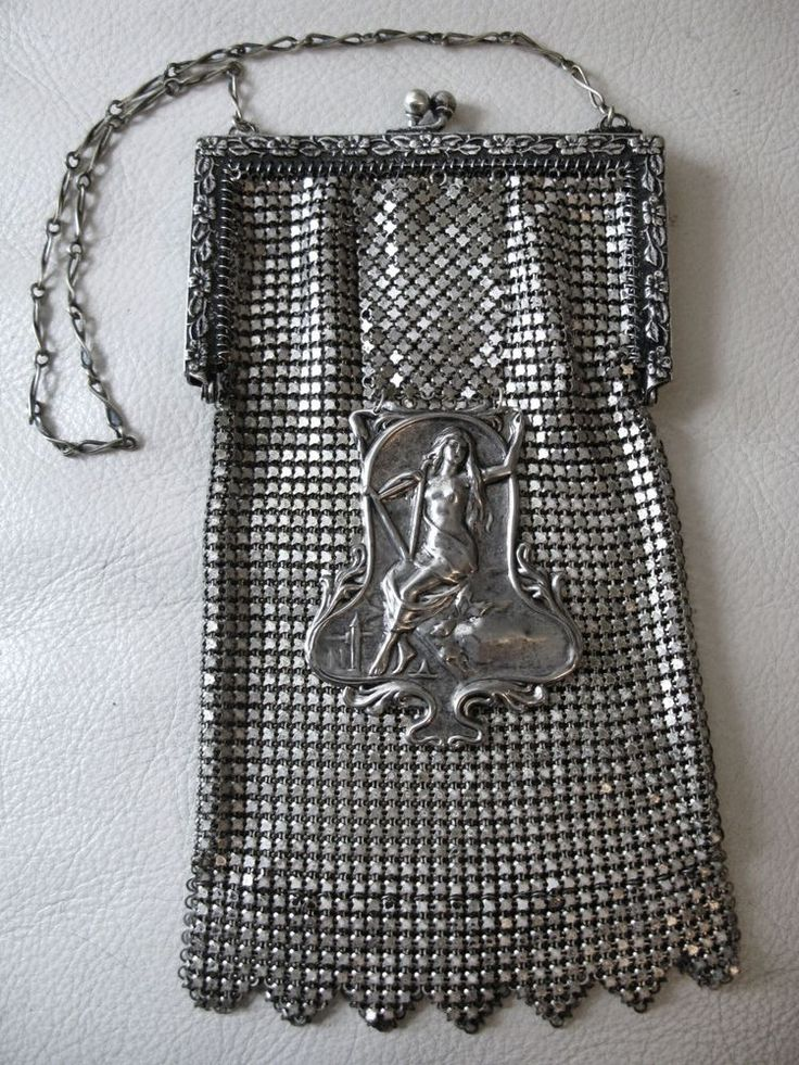 Antique Art Nouveau Woman Deco Girl On A Swing Silver T Chain Mail Mesh Purse #WhitingDavis #EveningBag