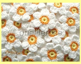 Crochet Flowers 12 pieces with 12 leaves Blue by OnelifeRosen