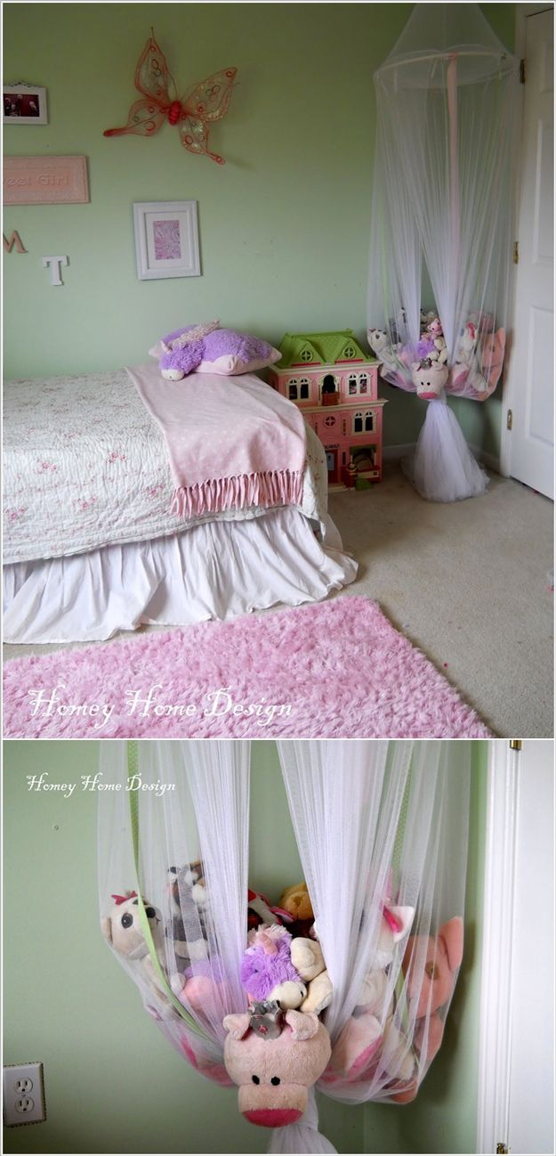 Girls bed canopy ideas - Hanging Homemade Toy Storage Ideas For Girls By Diy Ready At Www Diyready Com