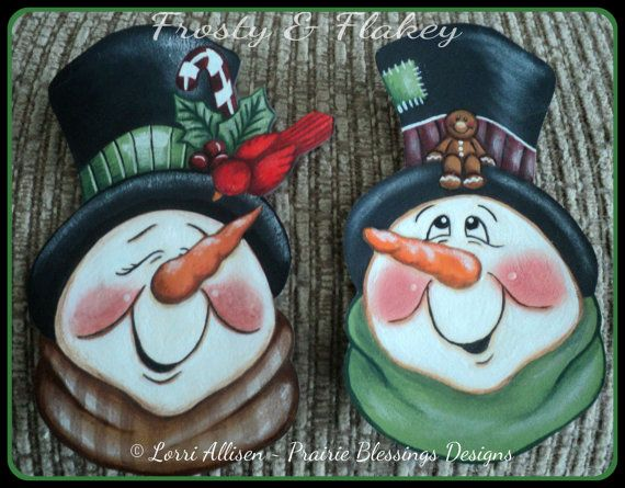 Snowmen - Frosty and Flakey Snowman Christmas ornaments painting pattern packet instant download