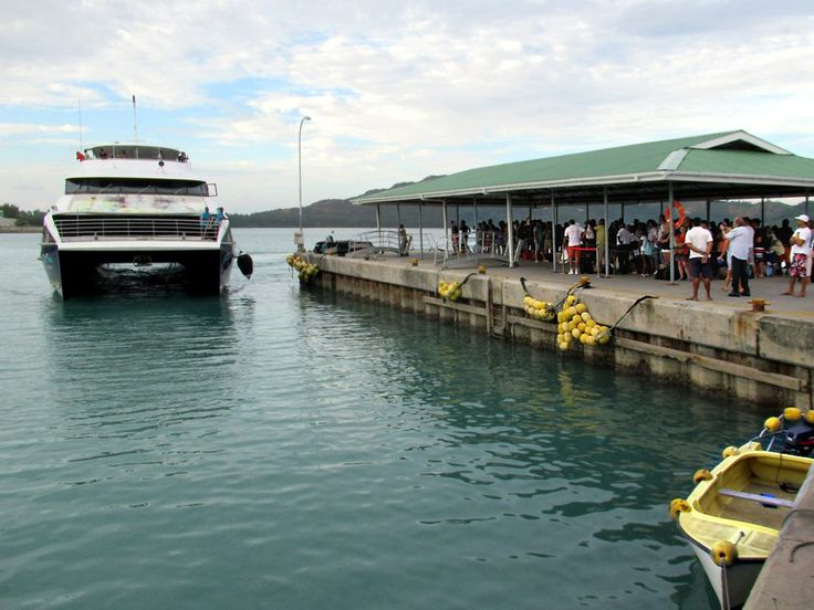 Baie Ste Anne Jetty on Praslin Island receives large passenger catamarans from Victoria, capital of the Seychelles.