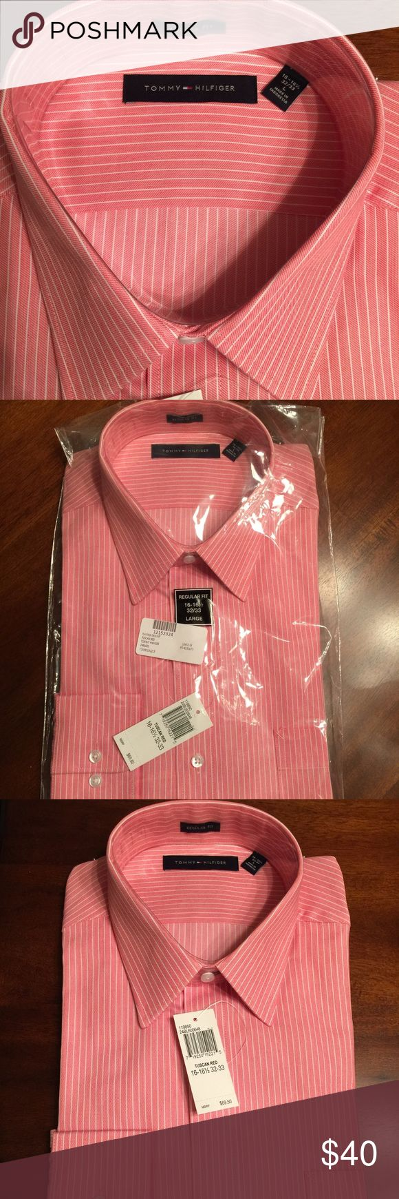 NWT Tommy Hilfiger Regular Fit Dress Shirt NWT Tommy Hilfiger Striped Regular Fit Dress Shirt. Color per package is Tuscan Red. Size Large: 16x32-33. 100% Cotton. Still in original packaging.  Beautiful/Handsome 😉shirt. Retails $69.50 Tommy Hilfiger Shirts Dress Shirts
