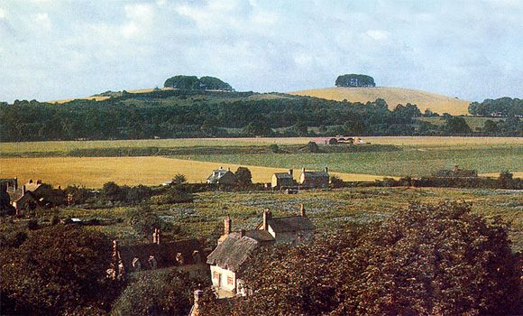 A photo of Wittenham Clumps in 1944 from the Tower at Dorchester Abbey