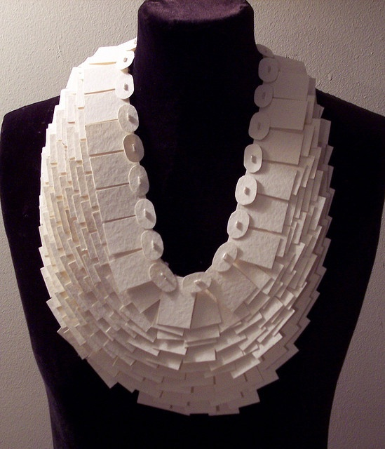 Necklace | Jennifer Maestre.  Heavy duty water-color paper, beads, and thread