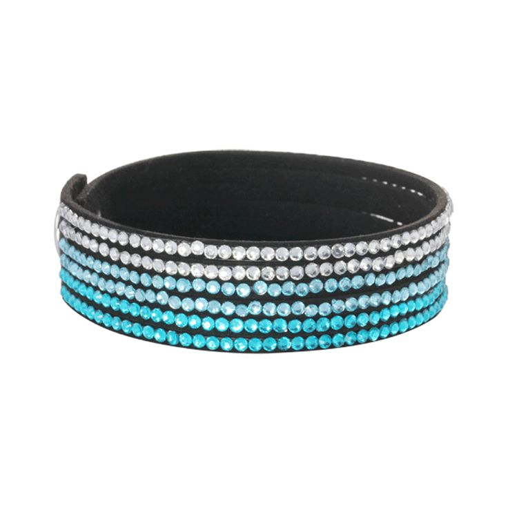 Soft black leather with Blue, Aqua and White Crystals