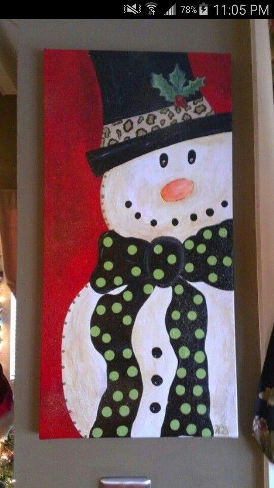 Snowman painting idea