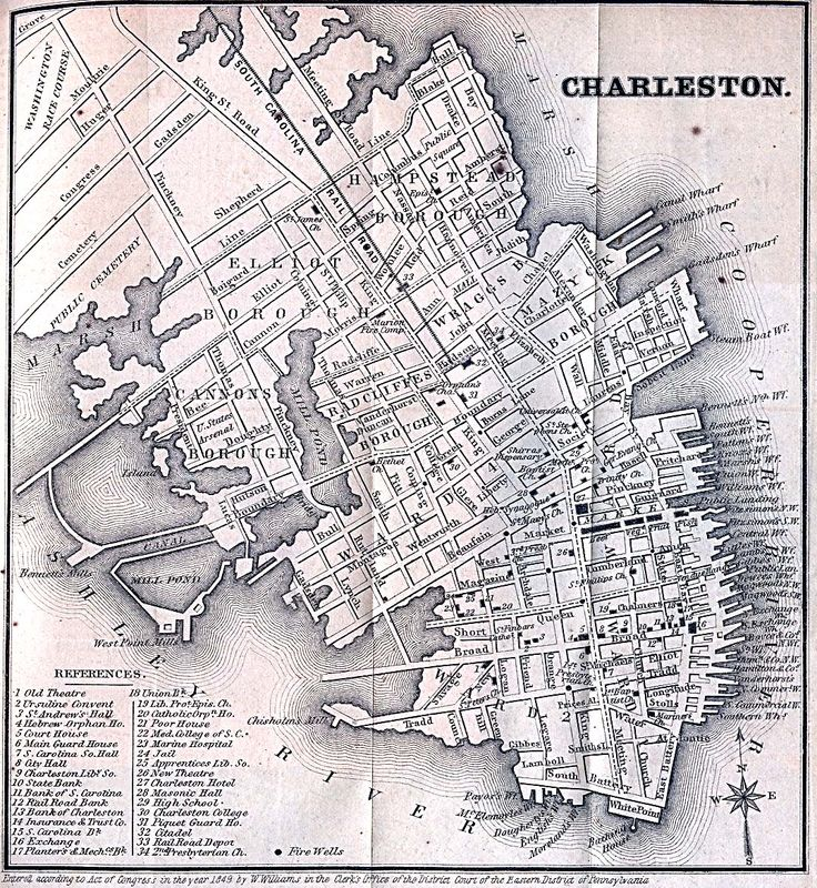 Charleston in 1849. See, there really was a Friend Street--named after the Society of Friends, a.k.a. the Quakers. Today, it's considered part of Legare Street. (From the Perry-Castañeda Library Map Collection at the University of Texas, Austin.