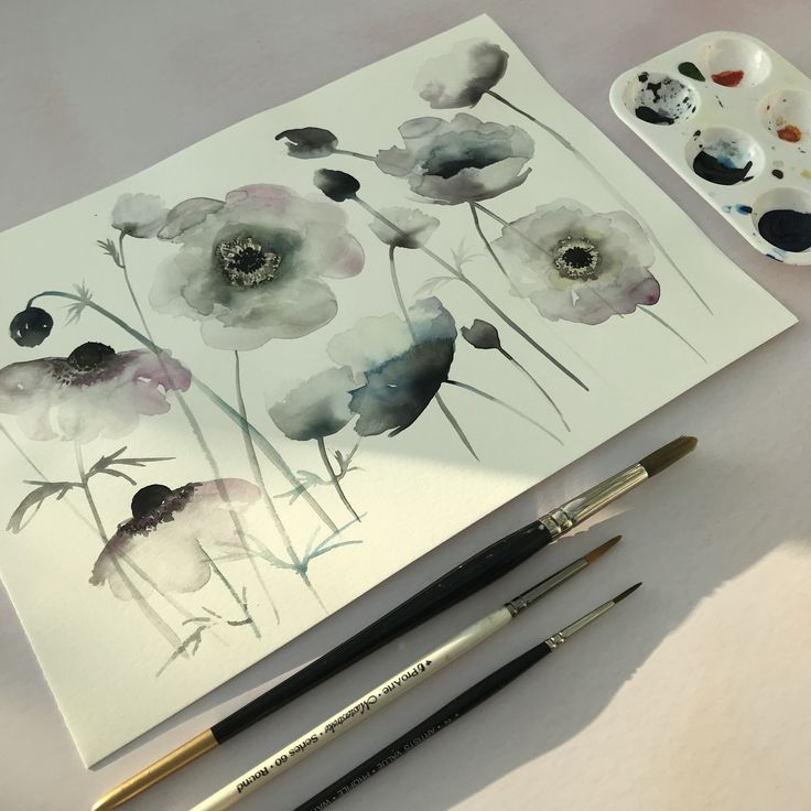 Watercolour anemones. Modern and minimal botanical illustrations. Floral illustrations. Wedding stationery, wedding art. Click the link to get in contact about a bespoke commission