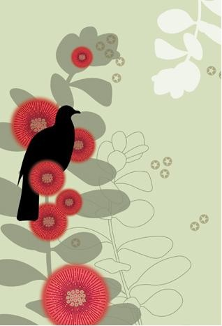 Amis Botanique card series illustration - green with Pohutukawa