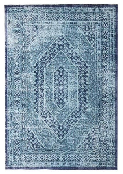Add a vintage feel whilst keeping a modern look with the Menhit Blue Transitional Patterned Rug