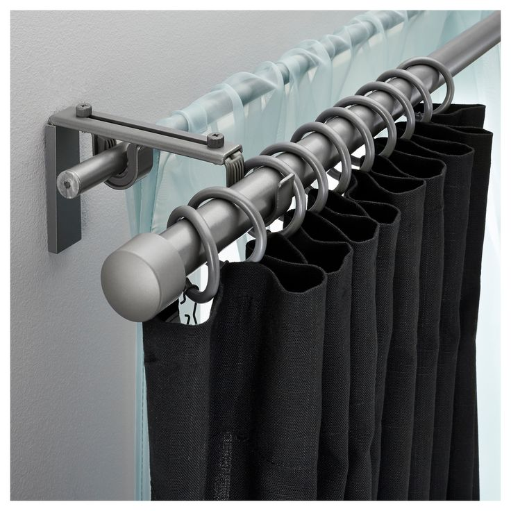 RÄCKA / HUGAD Double Curtain Rod Combination, Silver Colour