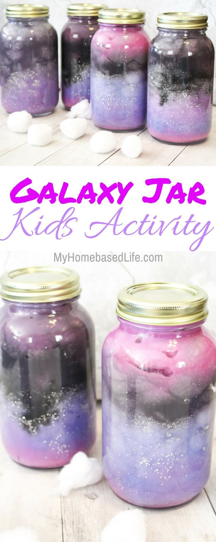 These Galaxy Jars are so simple and fun for the kids to create.  Let your child's creativity go wild on these and their masterpiece will be amazing!