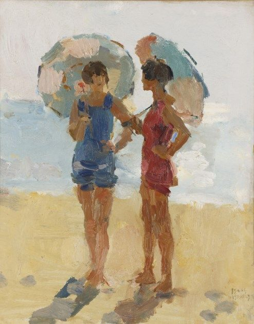 'Isaac' Lazarus Israëls (1865-1934) - At the beach, Viareggio - Oil on canvas (painted between 1923-1934)