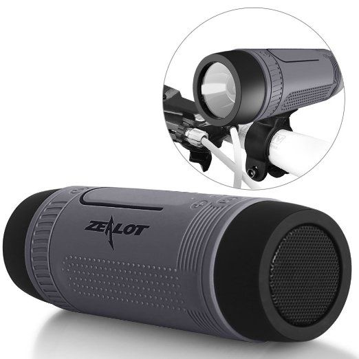 Outdoor Speakers Portable Bluetooth Bicycle Speaker Zealot S1 4000mAh Power Bank Waterproof Speakers with Full Outdoor Accessories(Bike Mount, Carabiner...)(Gray)